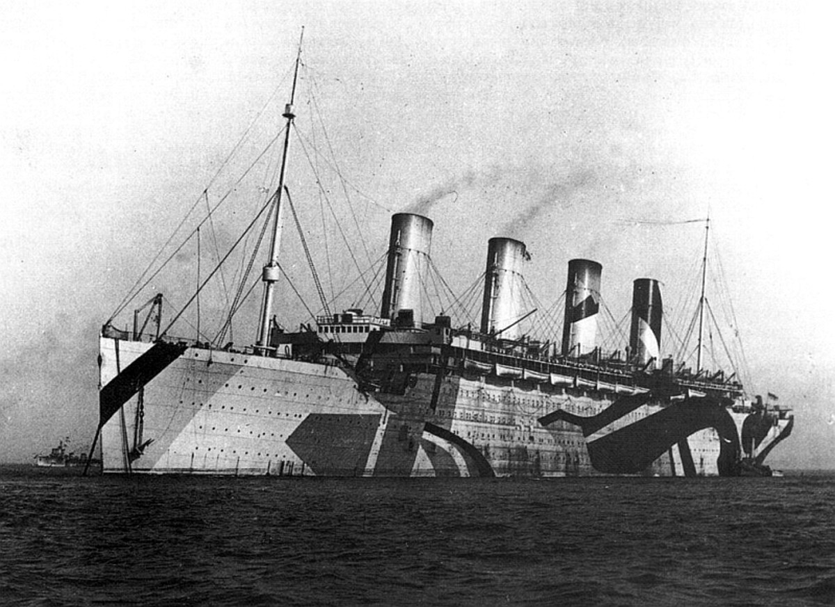 HMT Olympic in her dazzle paint.