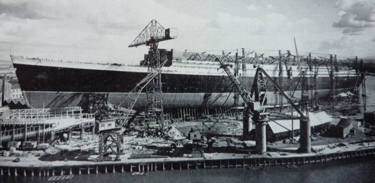 Construction of the RMS Queen Elizabeth in Scotland.