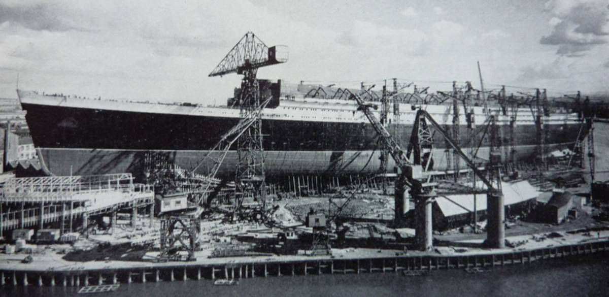 Construction of the RMS Queen Elizabeth in Scotland.