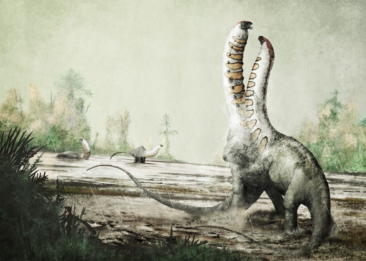 Duelling Brontosaurus as depicted by Mark Witton.