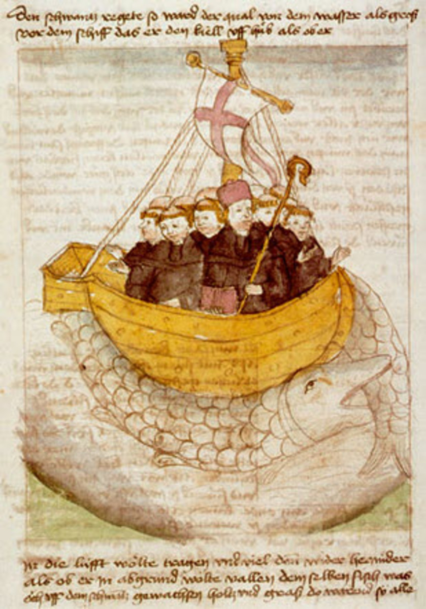 Medieval drawing depicting Saint Brendan and his companions who supposedly ventured into the Atlantic and discovered many islands long before Columbus.