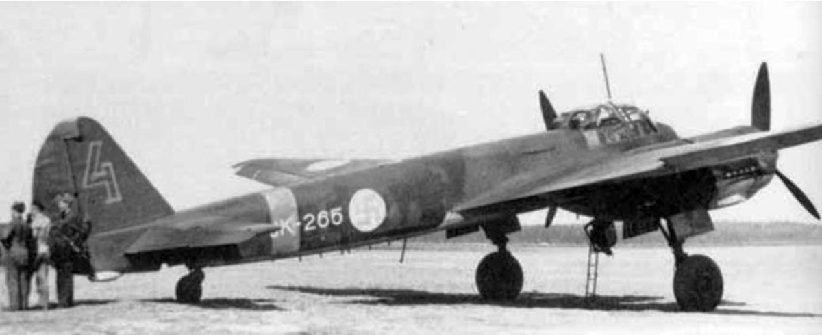 Finnish Junkers Ju 88 bomber (origin Germany) with Finnish swastika insignias.