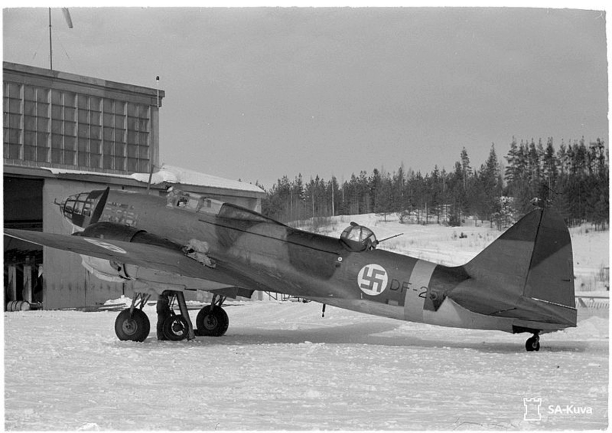 Finnish Ilyushin Il-4 bomber (origin Soviet Union) with Finnish swastika insignias.