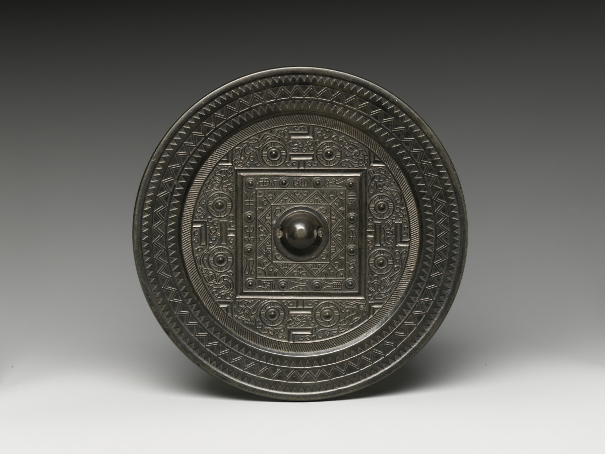 Mirror with Game Board Design, Han dynasty (206 BC - 220 AD), China. Held by the Metropolitan Museum of Art, 17.118.42, and currently on view in Gallery 207
