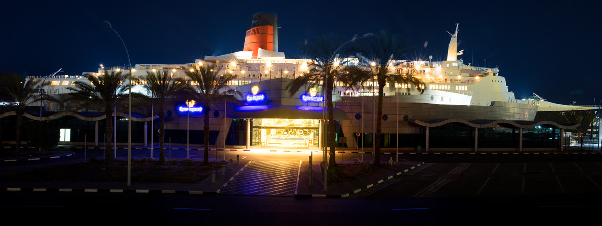 The fully restored QE2 in Dubai.