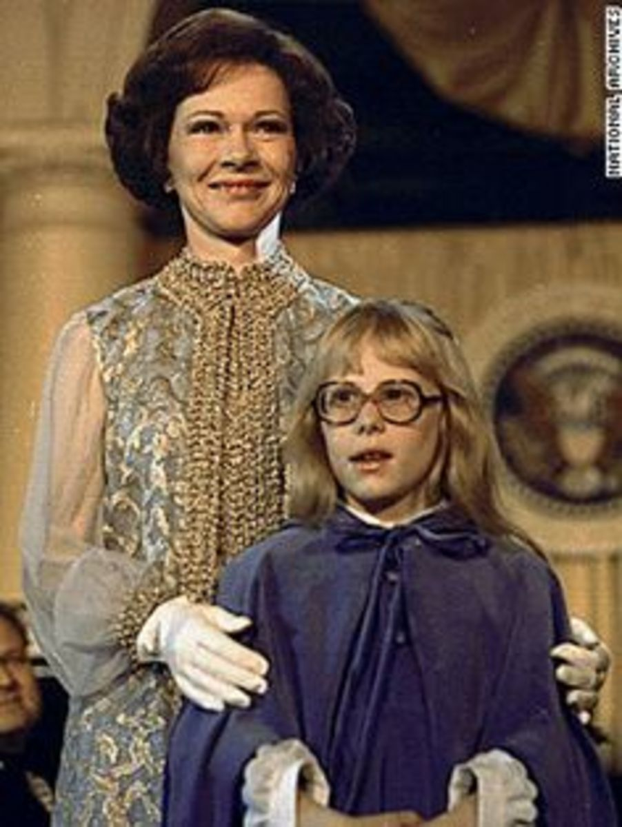 Rosalynn and Amy Carter in 1977 at Jimmy Carter's Inaguration