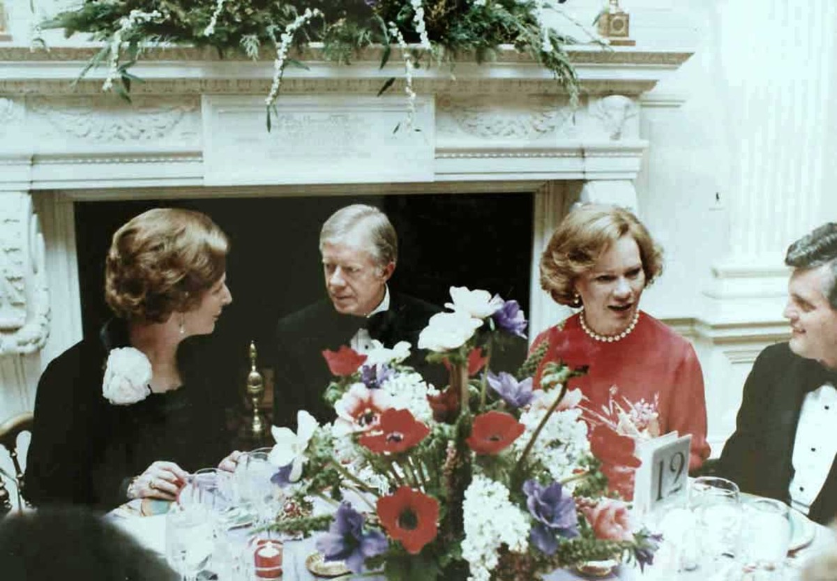 Margaret Thatcher with President Jimmy Carter and first lady Rosalynn Carter during a state dinner at the White House.
