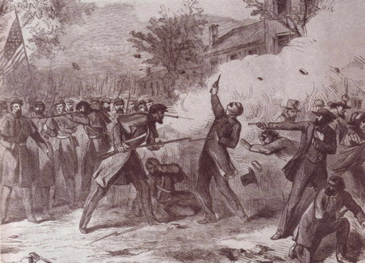 Camp Jackson Massacre of pro-Southern militia by Nathaniel Lyon who was committed to defending the St. Louis Arsenal, May 10th 1861.