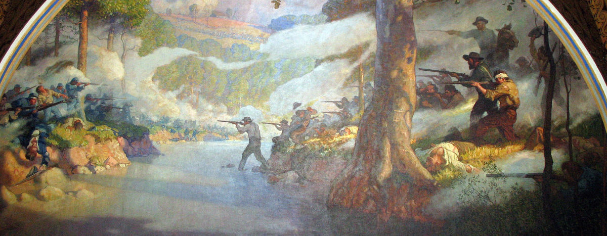 Mural of the Battle of Wilson's Creek which hangs in the Missouri State Capital.