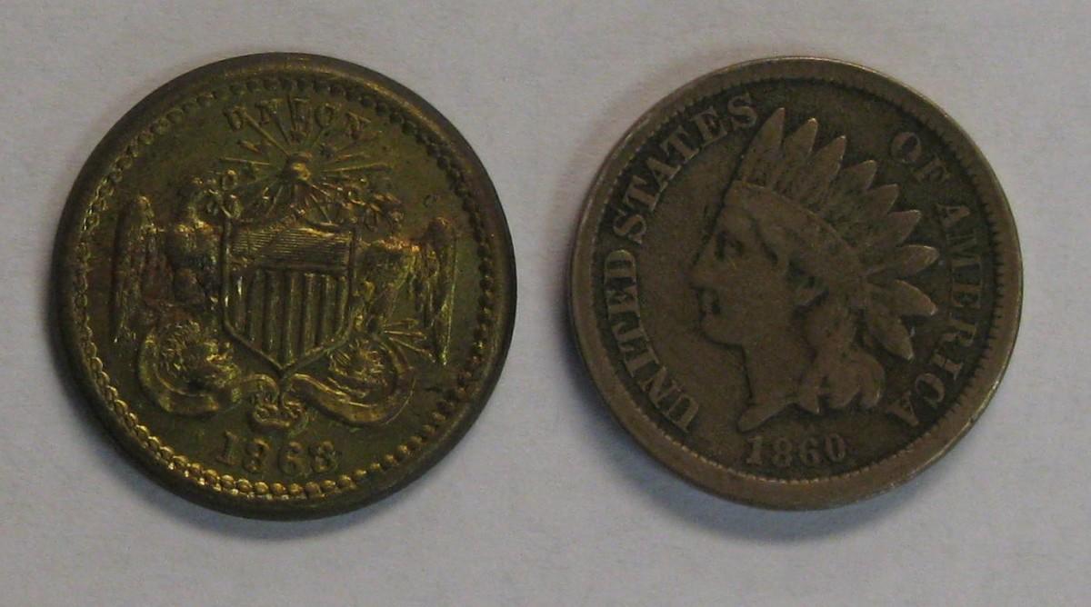 1863 Civil War Token and a 1860 Indian Head Cent