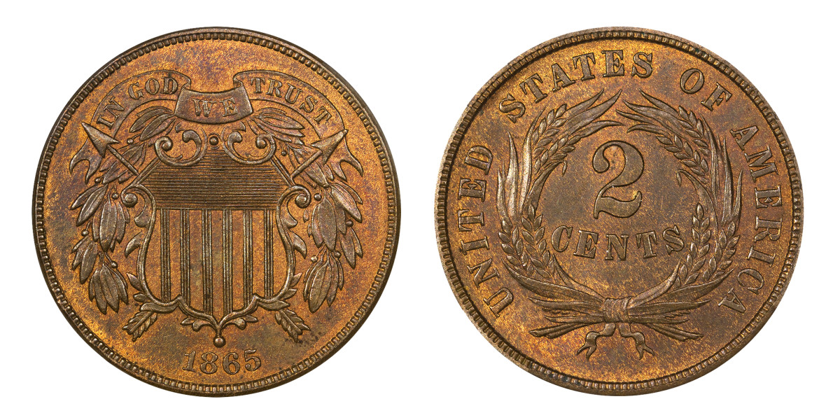 1865 Two-Cent Coin in uncirculated condition.