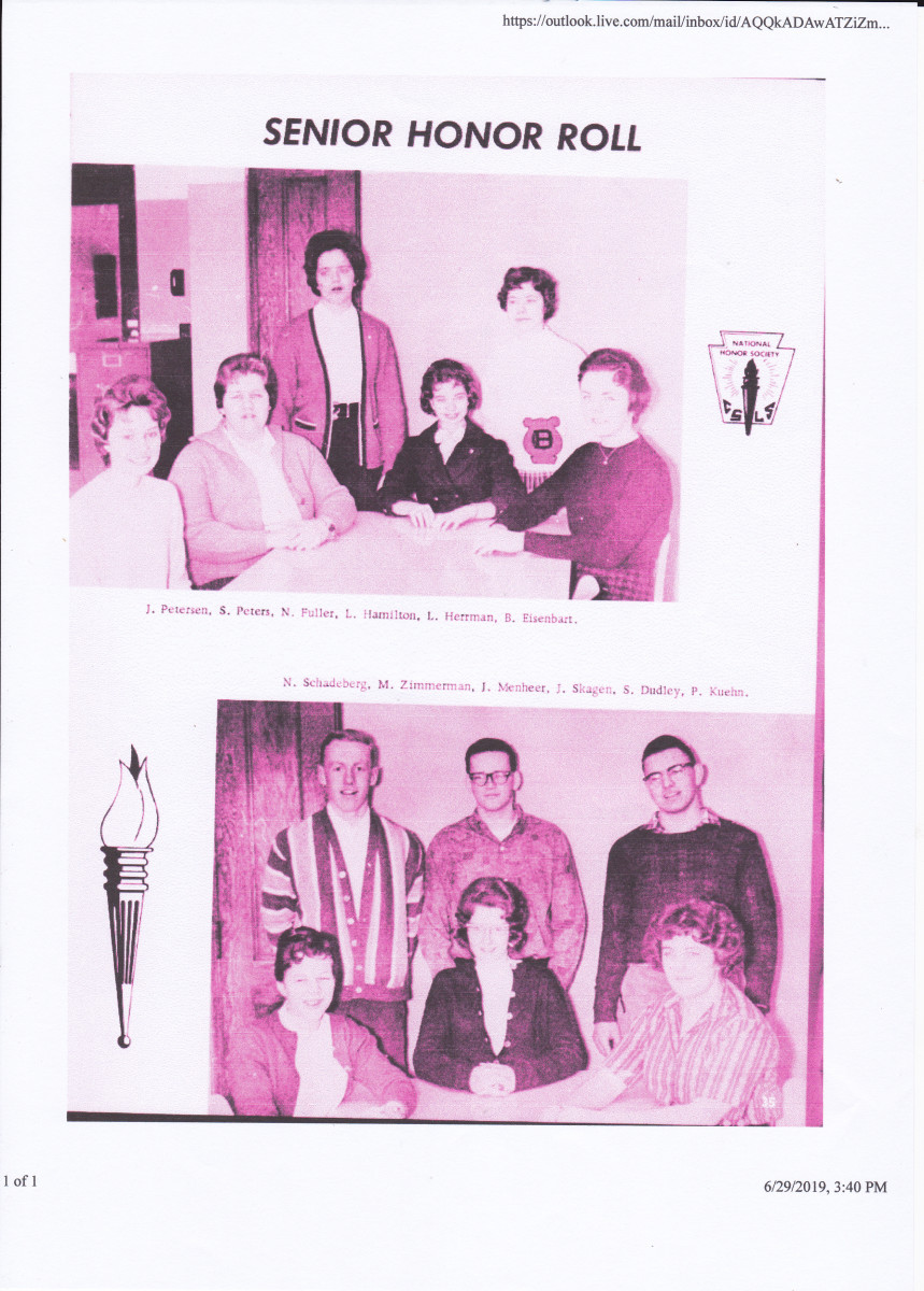 The author as a member of the senior honor roll.  The author is top right in the bottom picture.