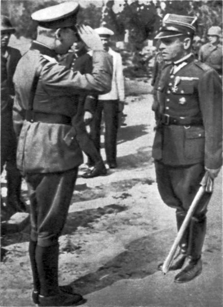 German General Eberhardt saluting Polish commander Major Sucharski after Westerplatte's defenders surrendered. Sucharski was given the courtesy of keeping his saber. September 7, 1939.