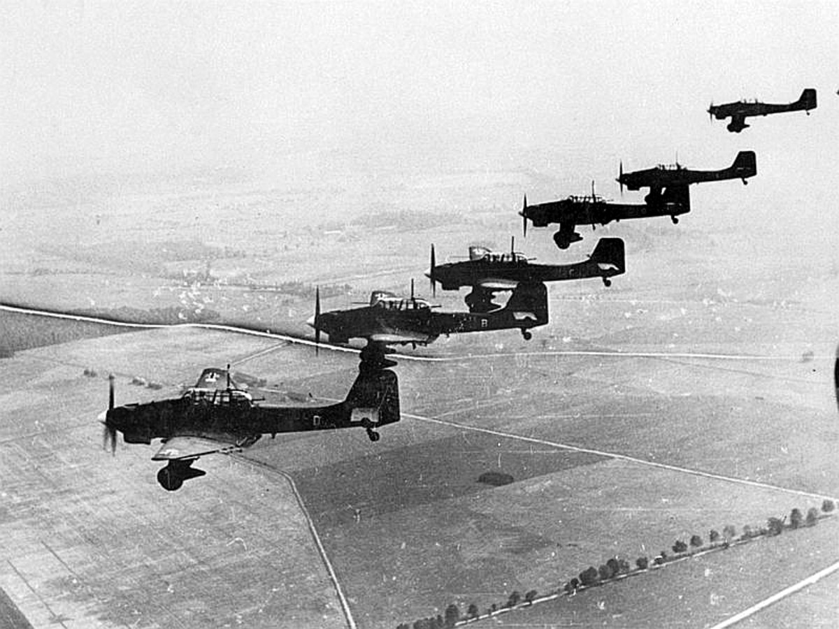 Formation of Junkers JU-87 (Stuka) dive-bombers over Poland. 1939