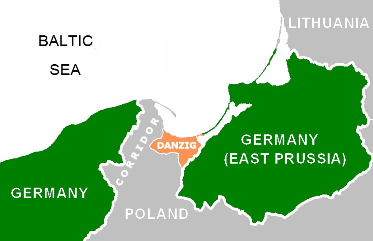 Map showing the Polish Corridor and the Free City of Danzig wedged between German territory prior to World War Two.