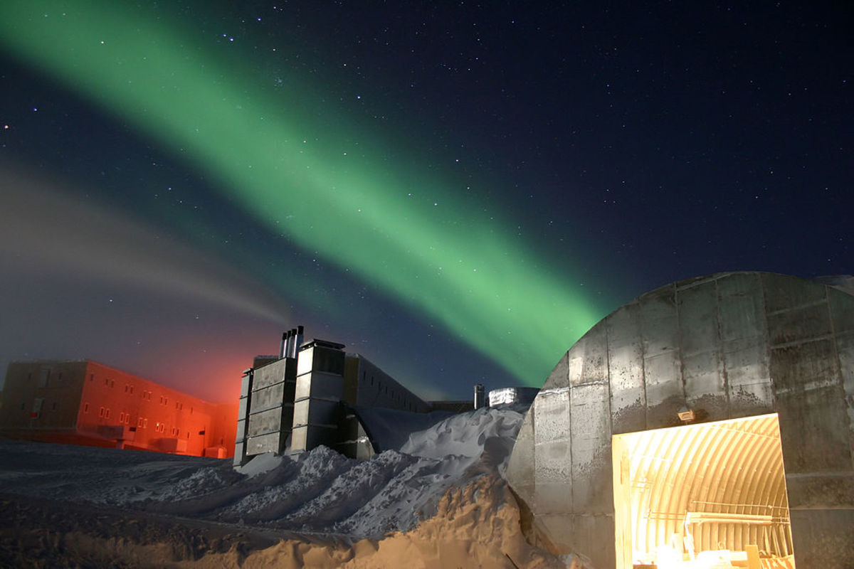 The Aurora Australis during winter at the South Pole