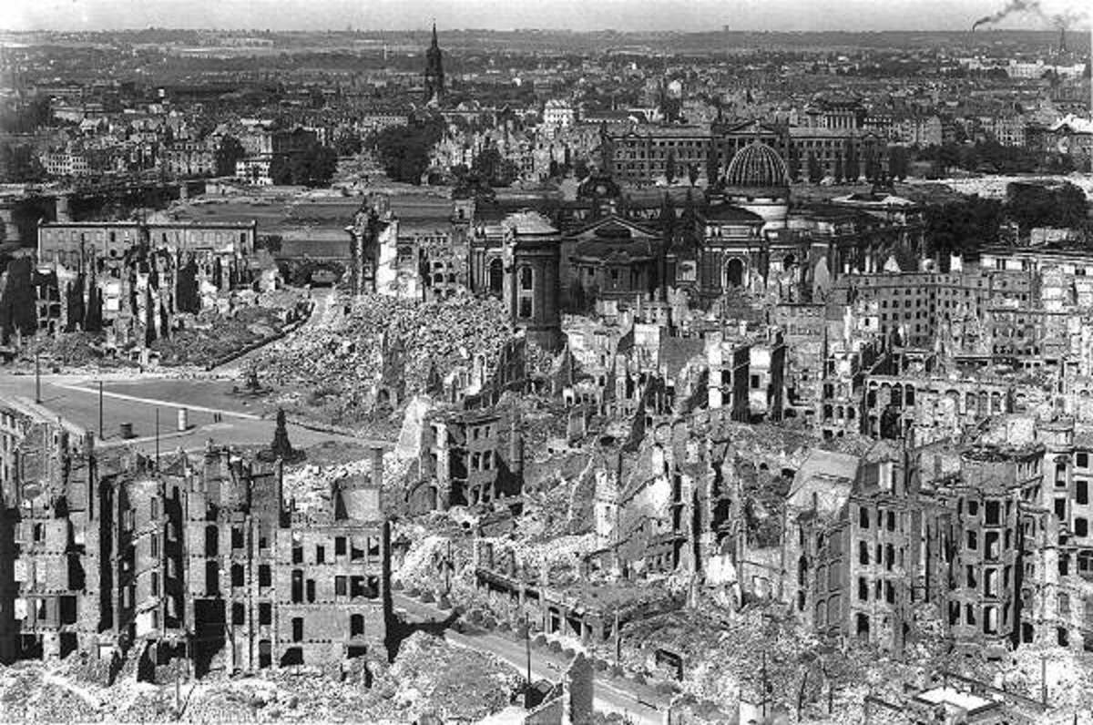 Dresden February 1945 looked like an ancient ruin after Allied bombing. The core temperature of the firestorm reached 1500 degrees Fahrenheit.
