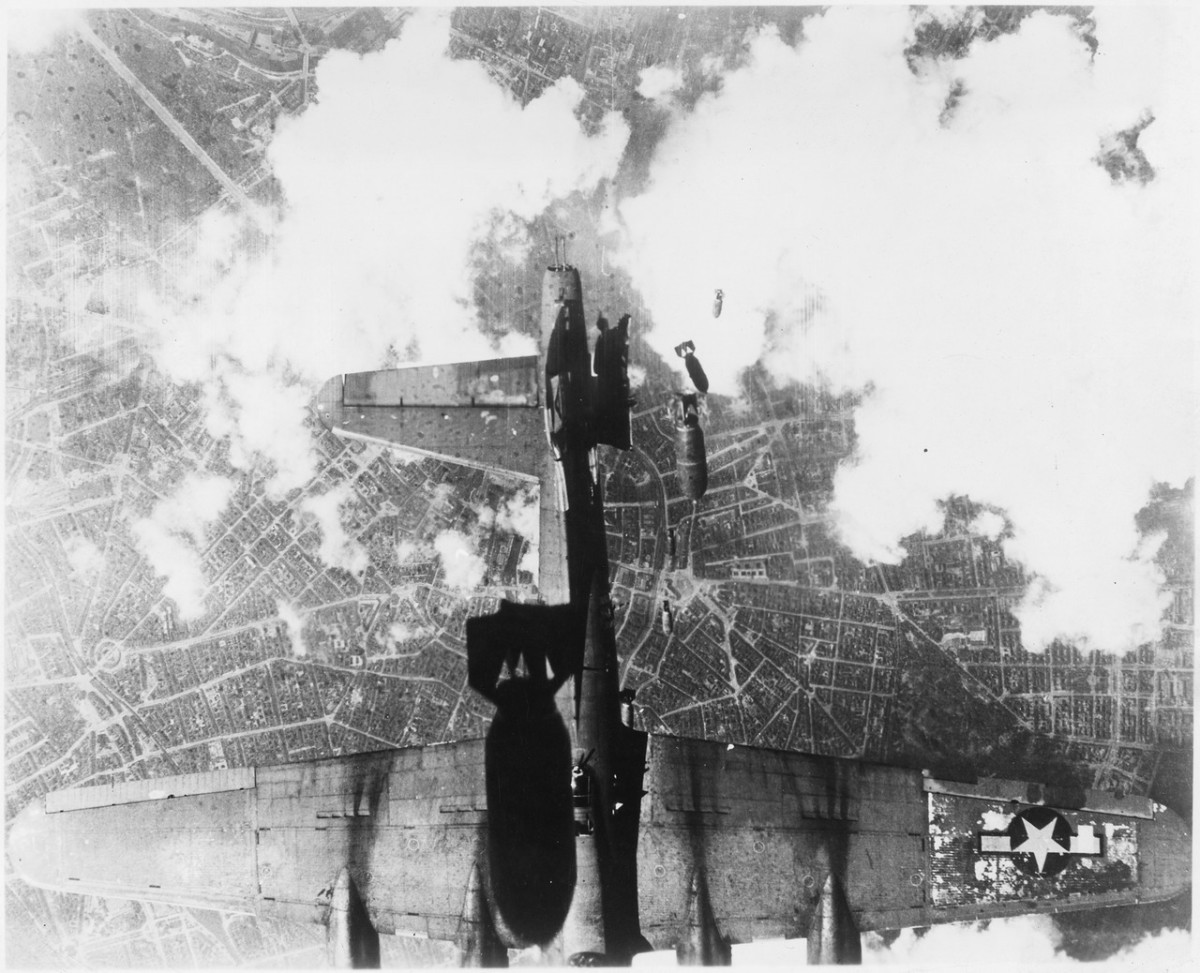 United States Army Air Force B-17 damaged by mistimed bomb release over Berlin, 19 May 1944.