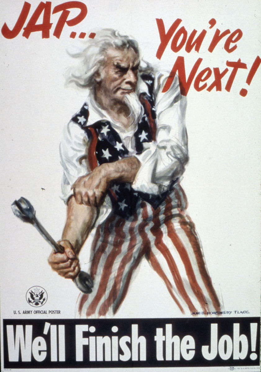 Uncle Sam rolling up his sleeves getting ready to defeat Japan after the surrender of Germany.