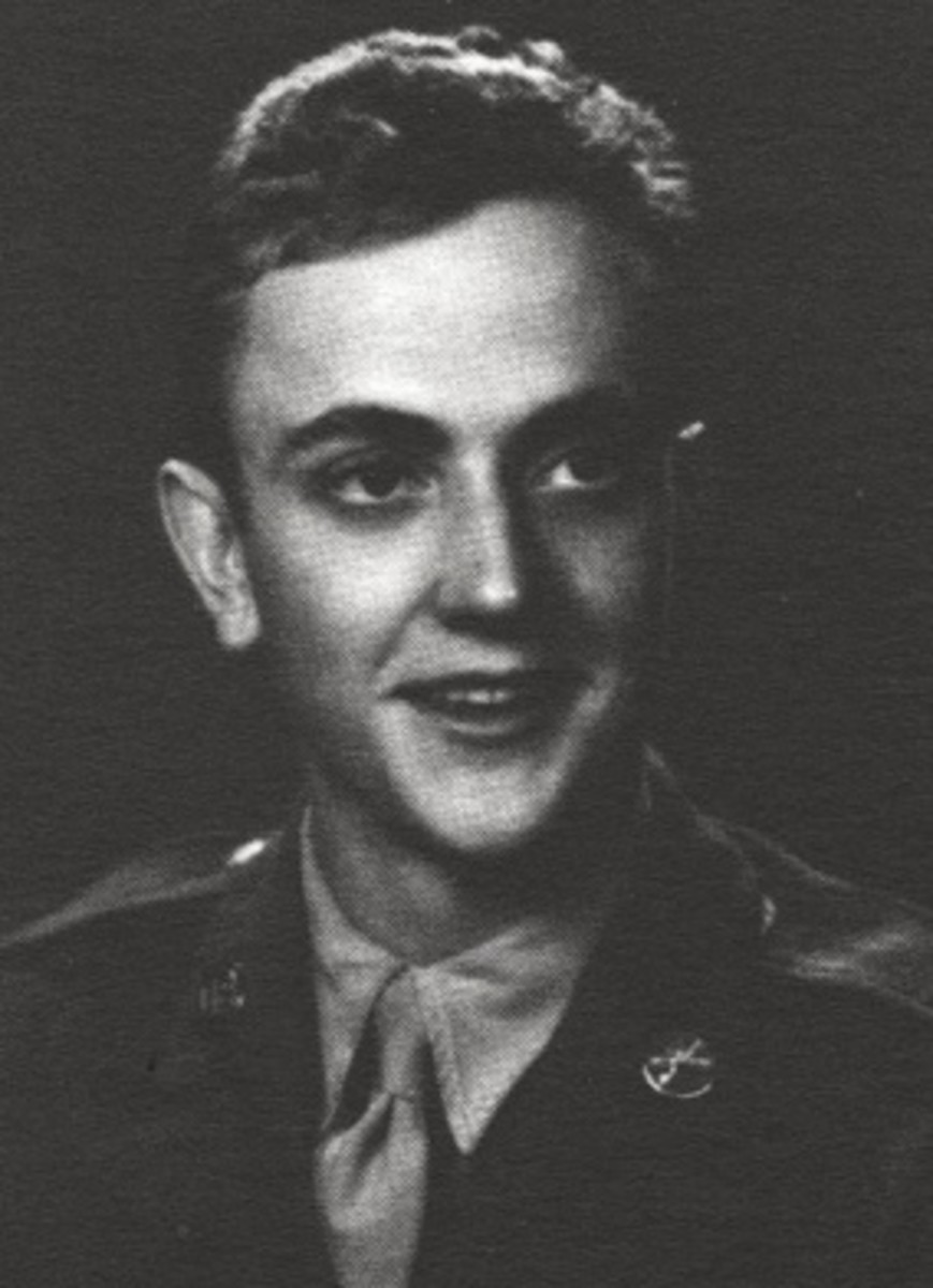 Kurt-Vonnegut in his US Army uniform. He would write about his experience during the firebombing of Dresden. Vonnegut was a POW held captive in a slaughterhouse when the Allied bombers destroyed the city.