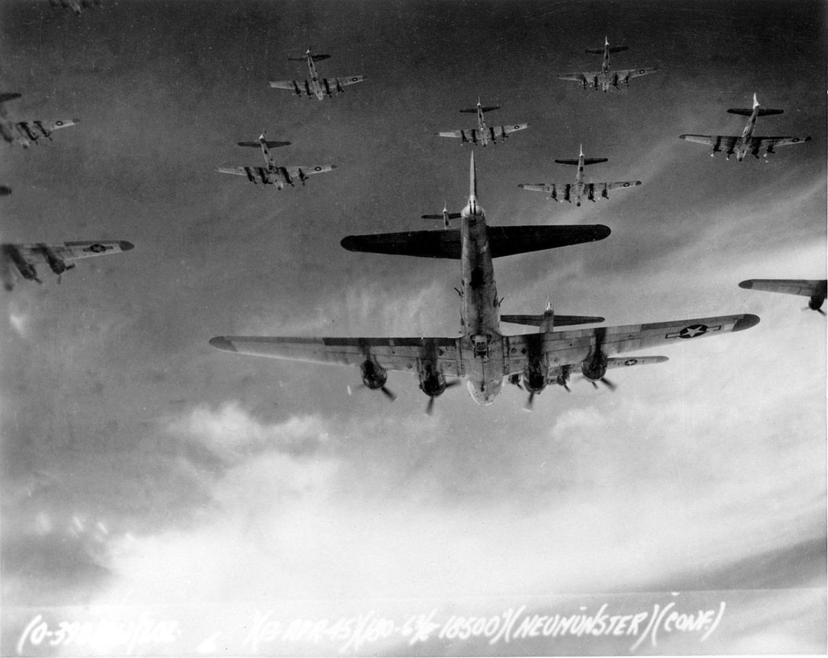 Boeing B-17 formation over Germany 1943 same planes used to bomb Dresden.
