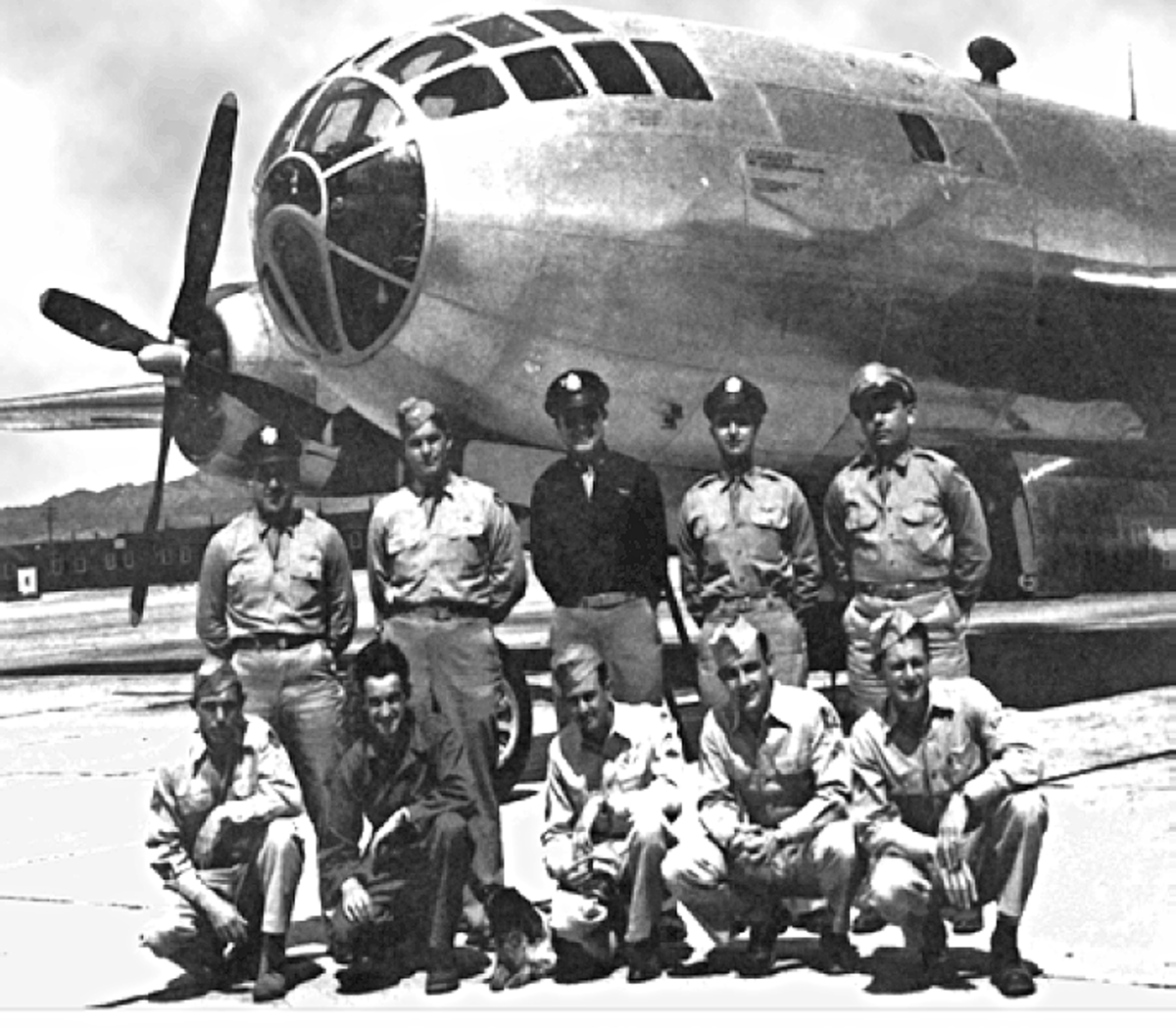 The crew of Bockscar the B-29 that dropped the Atomic Bomb on Nagasaki, August the 9th 1945.