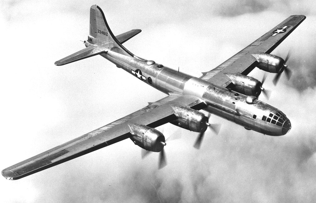 A B-29 in flight the most sophisticated bomber used during the Second World War.
