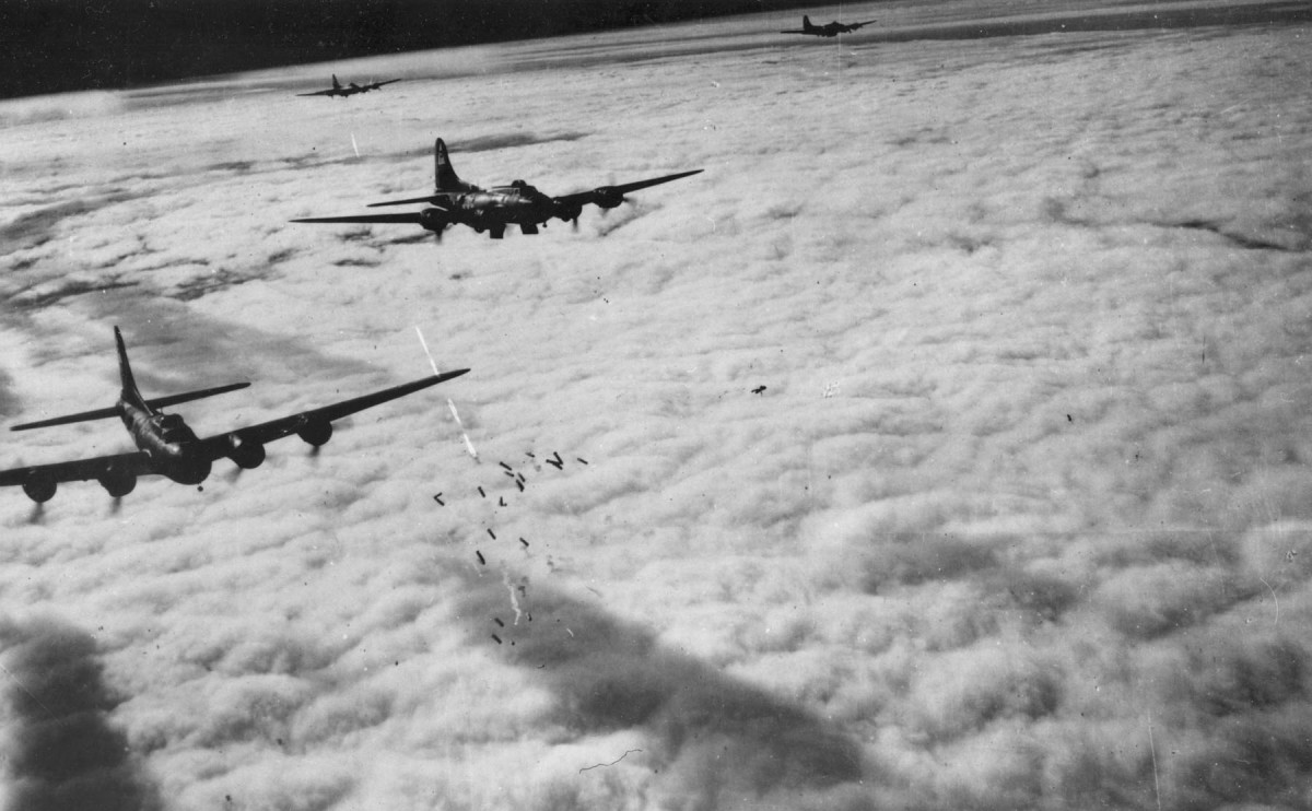 Boeing B-17Fs radar bombing through the clouds: Bremen Germany, on the 13th of November 1943.