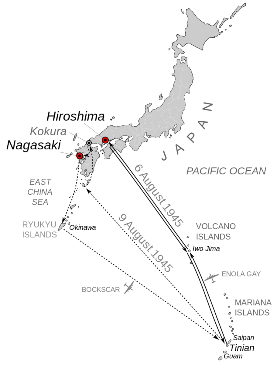 The route to Hiroshima and Nagasaki of the B-29s that dropped the atomic bombs on Japan's Homeland.