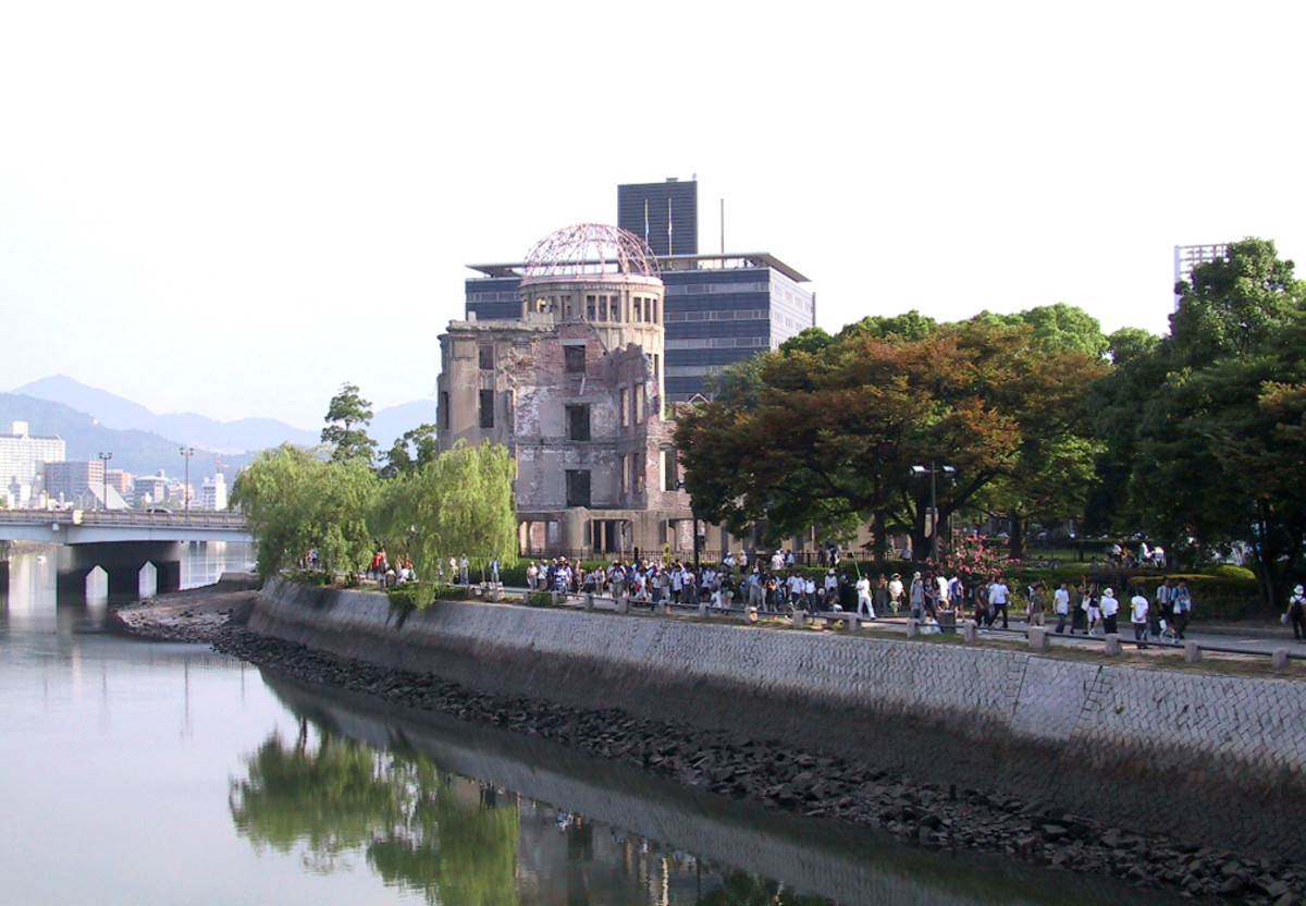 Peace dome in Hiroshima today. The exact point where the atomic bomb detonated above Hiroshima August 6,1945  8:16 A.M..