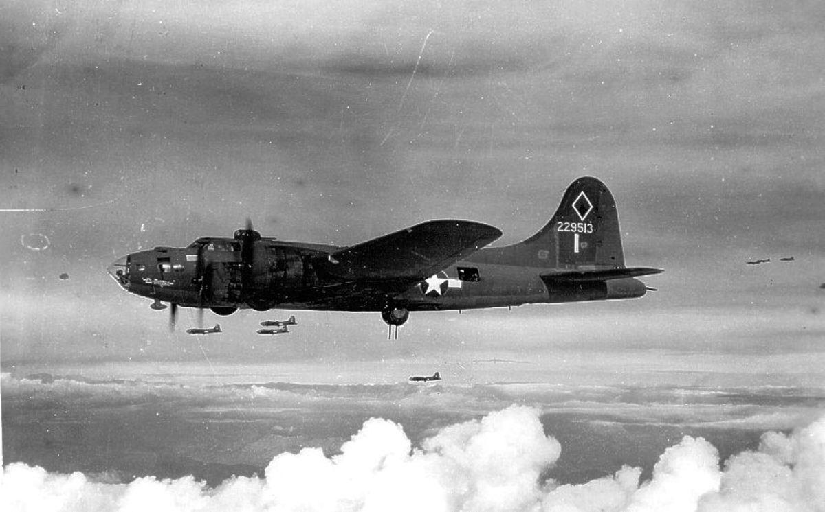 Boeing B-17F over Germany the mainstay of the Eight Air Force's bomber campaign against Germany.