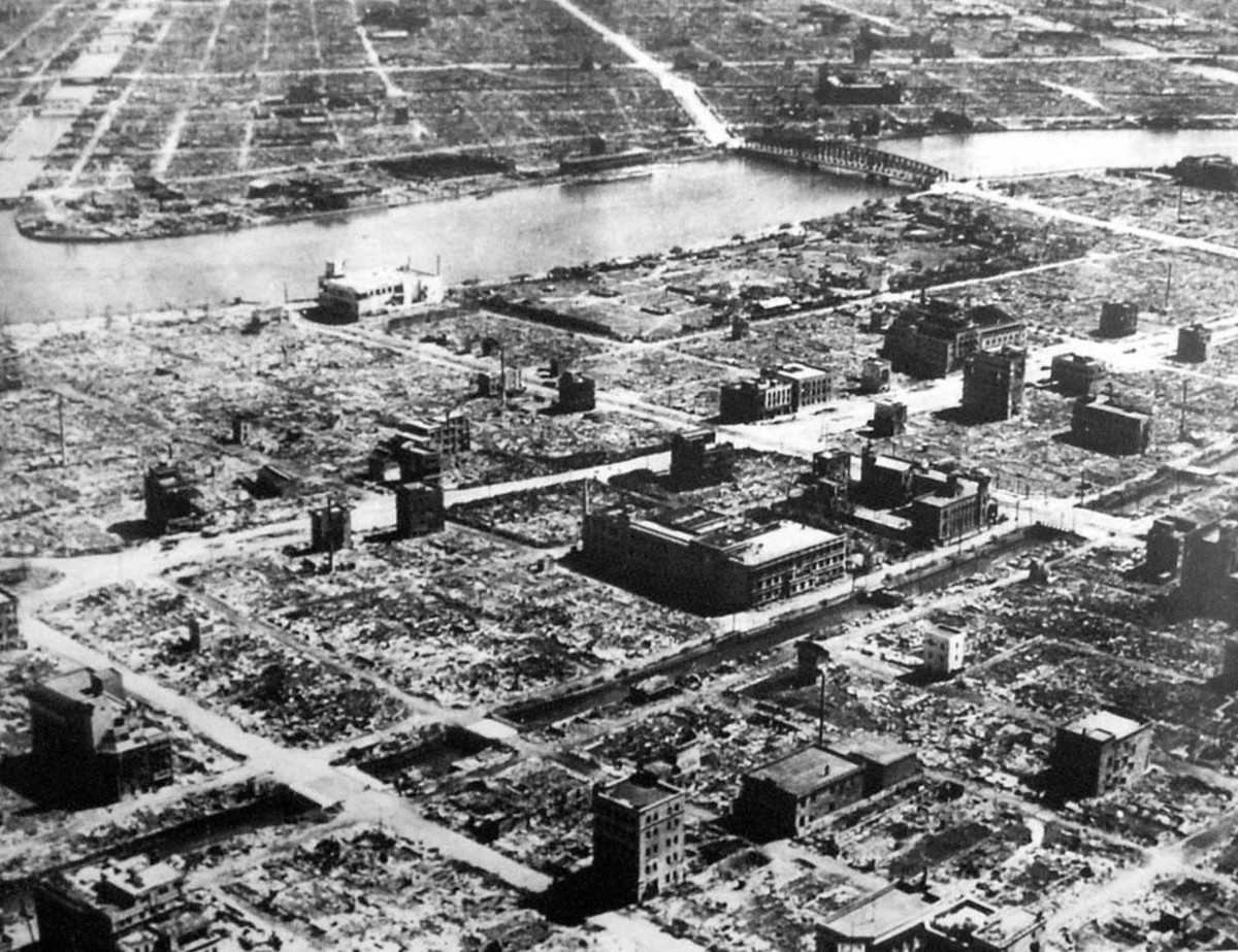 "Tokyo after Le May's B-29s destroyed the city on the 9th and 10th March 1945, code named ""Operation Meetinghouse,"" they were the single most deadly air raids in history more destructive than the atomic bombing of Hiroshima an Nagasaki."