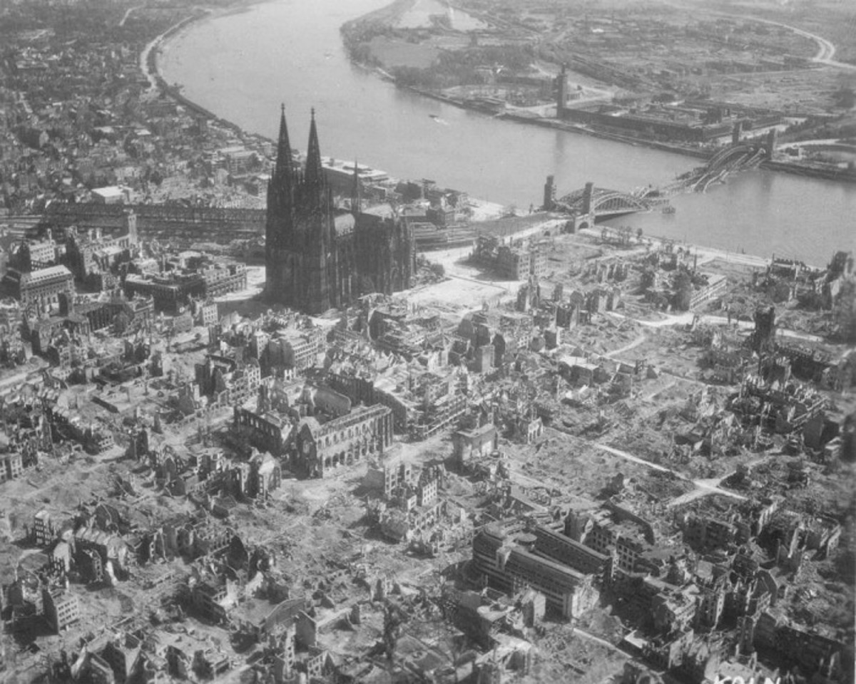 Cologne Germany 1945 after Allied bombing. Cologne cathedral rises above the scene of devastation. The city would undergo the first thousand plane raid on May 30/31 1942.