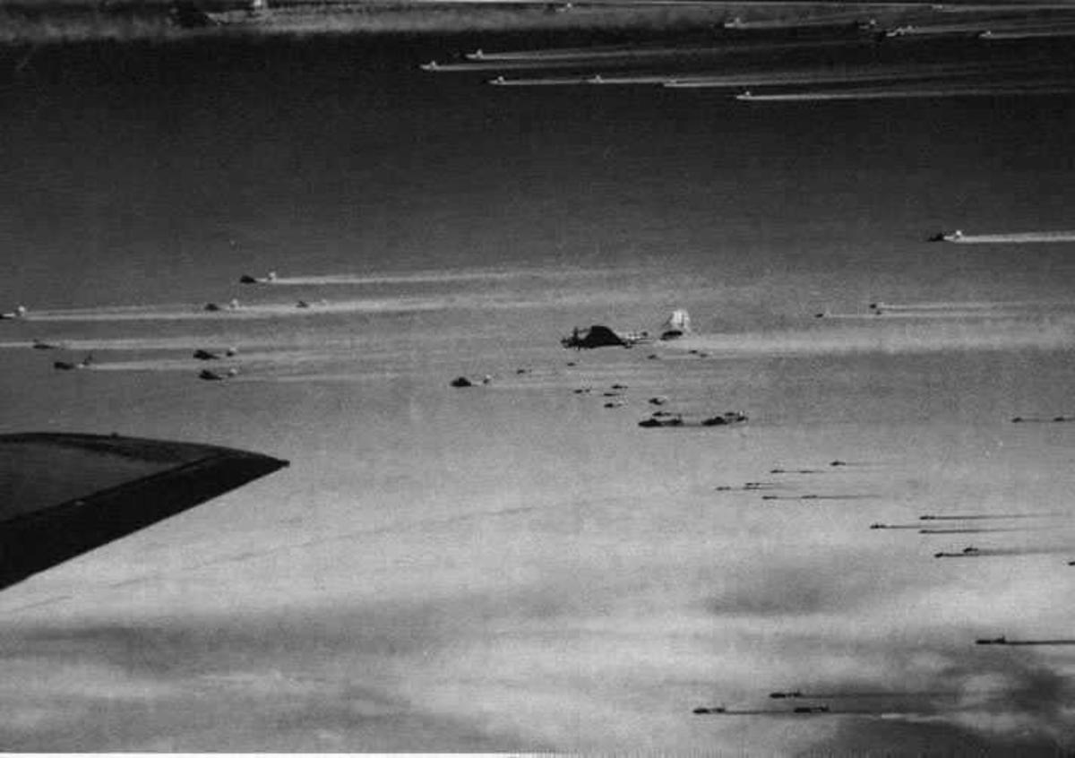 B-17 bomber stream over Germany part of a 1,000 plane raid.