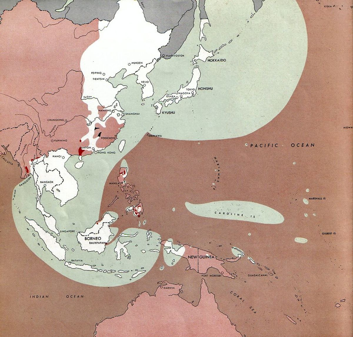 What was left of Japan's Empire the 1st of August 1945, they still controlled Southeast Asia , Korea, Manchuria, and all the major cities along the eastern coast of China.
