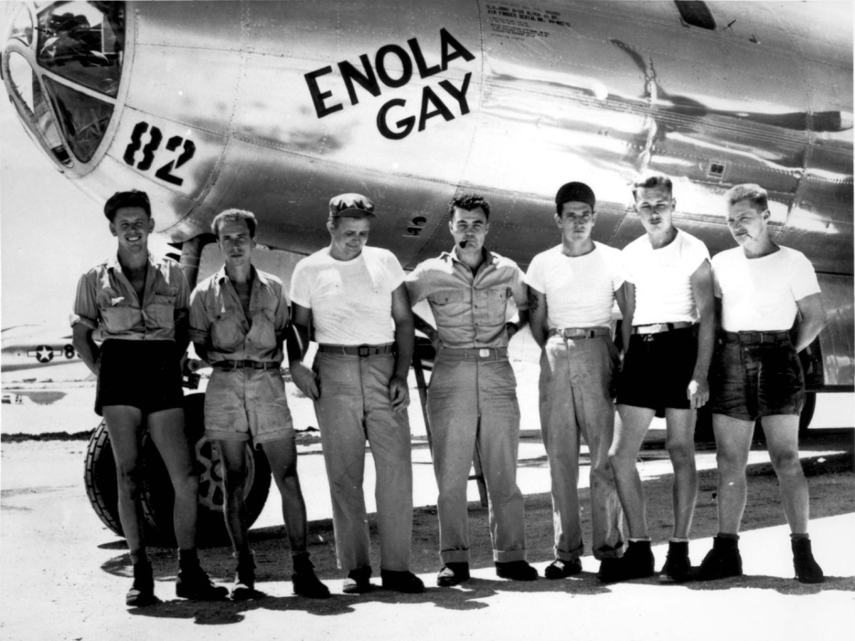 "The crew of the Enola Gay the B-29 that dropped the atomic bomb ""Little Boy"" on Hiroshima."