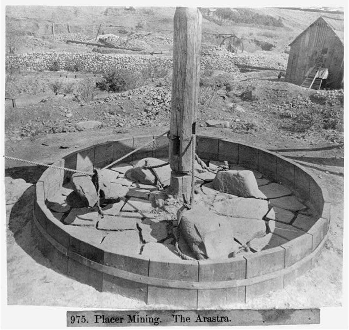 In general, outside of the circle was a large wheel carved from rock that rolled around and around crushing gold ore.