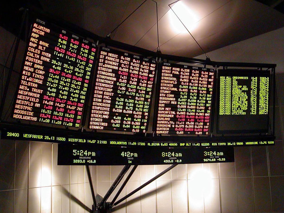 Stock exchange ticker monitor. By User:klip game (Own work) [Public domain], via Wikimedia Commons