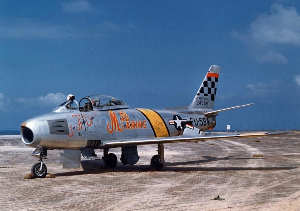 Glenn's USAF F-86F aircraft during the Korean War in 1953.