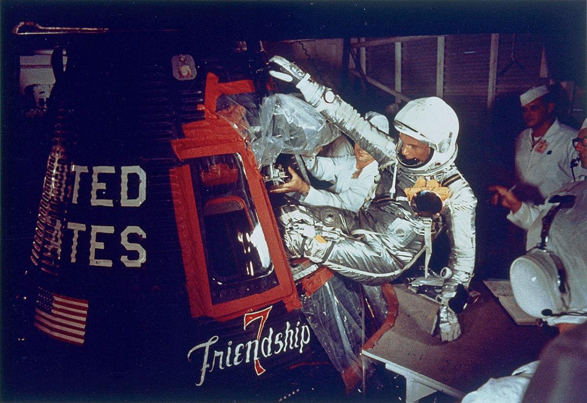 John Glenn entering Friendship 7 spacecraft.