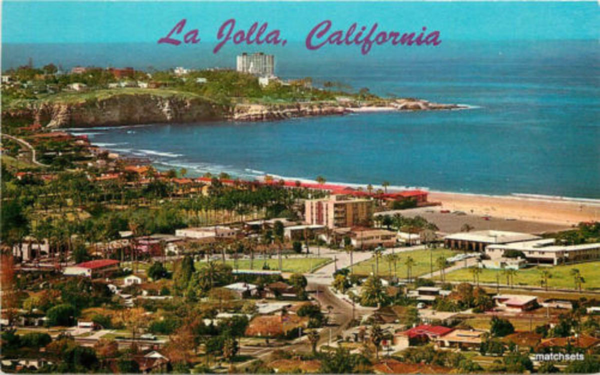 1950s La Jolla California Birdseye View Teich Postcard.  La Jolla is considered to be the inspiration for Macdonald's Pacific Point.