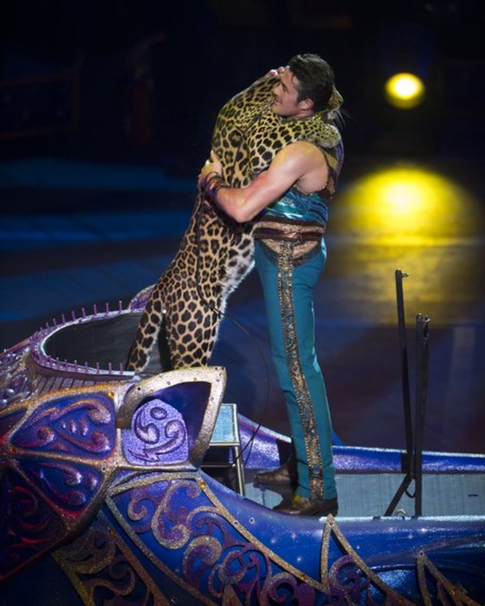 Alexander Lacey and leopard friend, Mogli.  Ringling Bros. and Barnum & Bailey presents Legends (2014-2016).