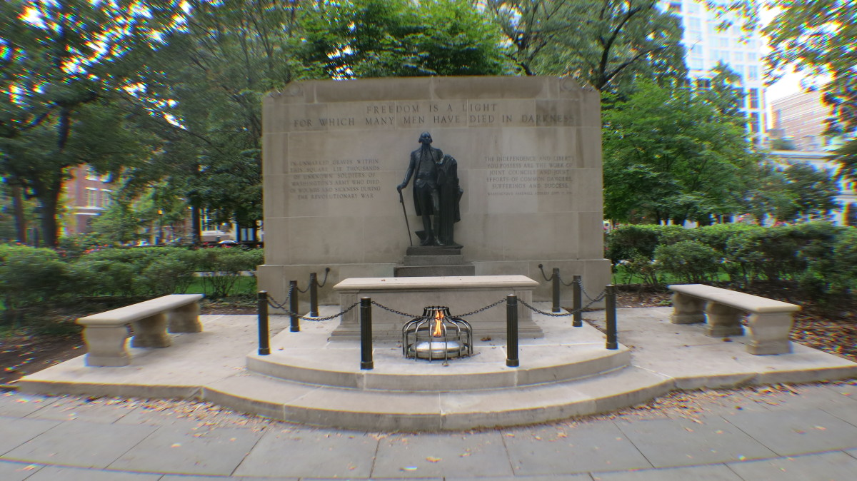 Statute of George Washington and an Eternal Flame Mark Mass Grave of some 2,000 Unknown Revolutionary War Soldiers