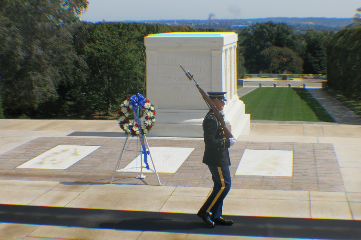 24 Hours a Day, 7 Days a Week a Soldier stands guard regardless of weather, in Washington, D.D. at the Tomb of the   Unknown Soldiers