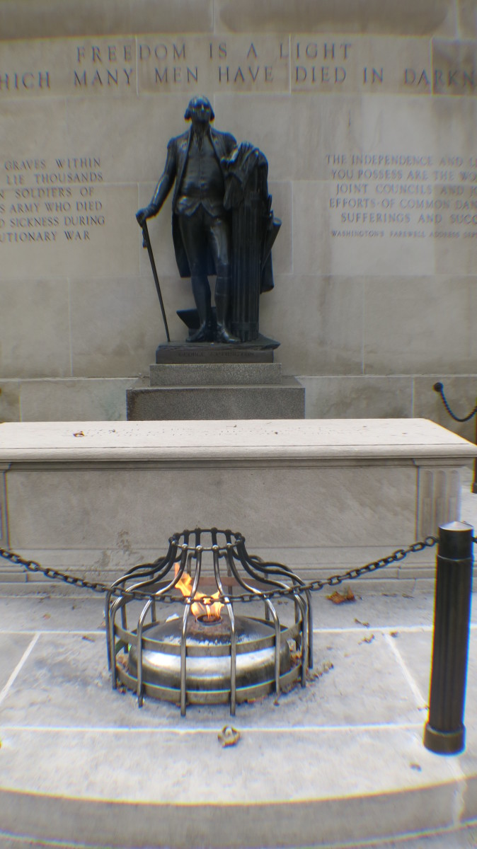 George Washington & Eternal Flame at Revolutionary War Unknown Soldier Monument in Philadelphia