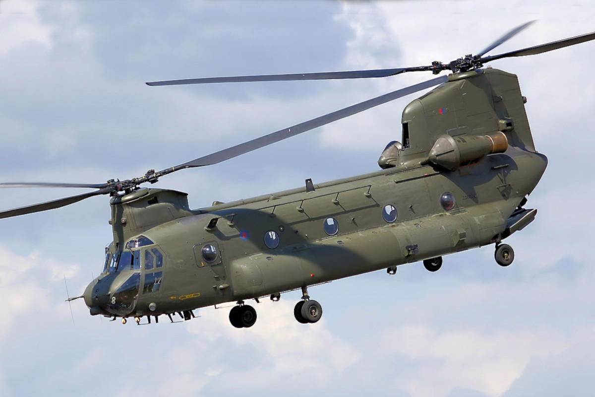 Boeing CH-47 Chinook. A military transport helicopter - one of the most distinctive of aircraft, and very different in design to the Bell 47 and Iroquois helicopters shown earlier. This is another aircraft which has been in service for over 50 years.