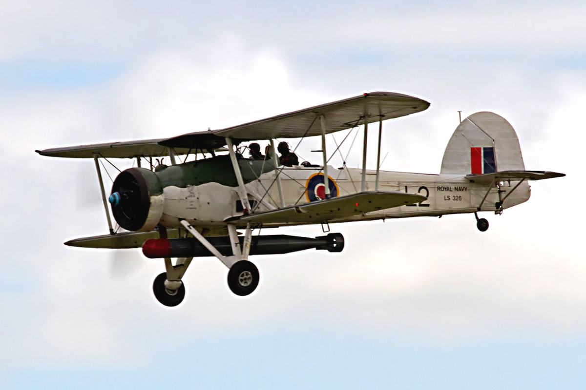 Fairey Swordfish. Almost obsolete even at the beginning of the war, the Fairy Swordfish gave the bi-plane design a last great triumph when a squadron torpedoed the powerful battleship Bismarck - rendering it helpless in the sea. It was later sunk.