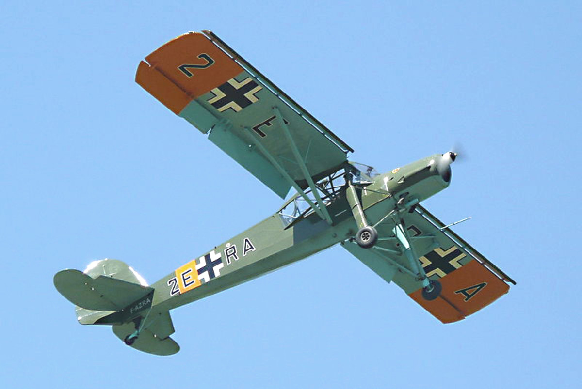 Fieseler Fi 156 Storch. This extraordinary liaison, light transport and reconnaissance plane had truly remarkable short take off and landing capabilities. And it could fly so slowly without stalling, it could virtually hover in a strong wind!