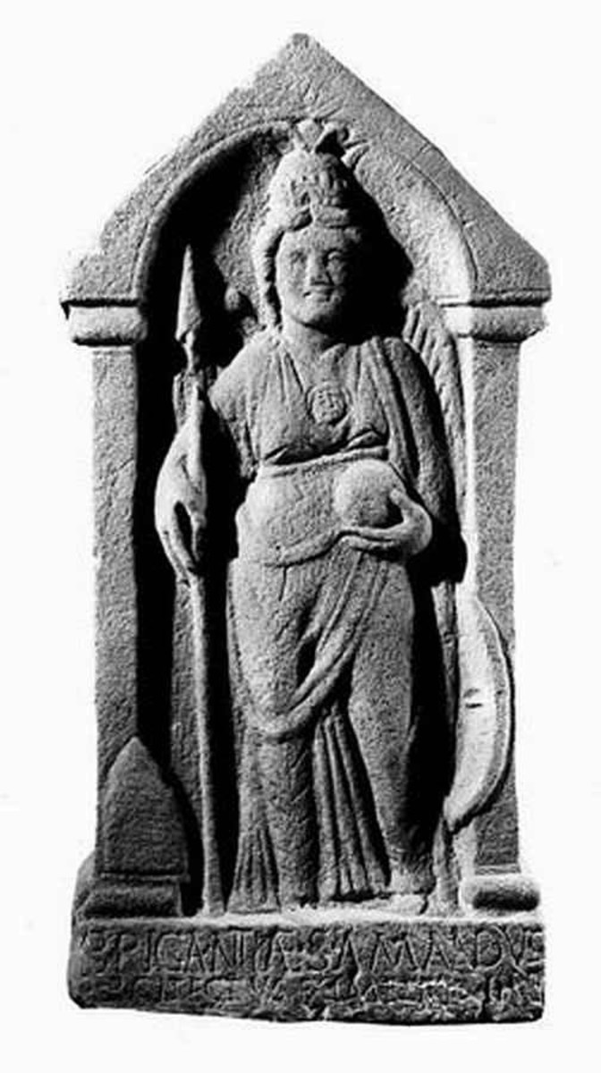 Brigantia (mother Britain) holding the globe, representing the world in her hands.
