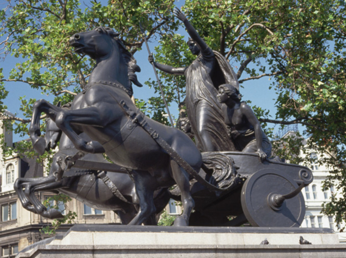 Boudica lead a rebellion with her daughters and rode into battle